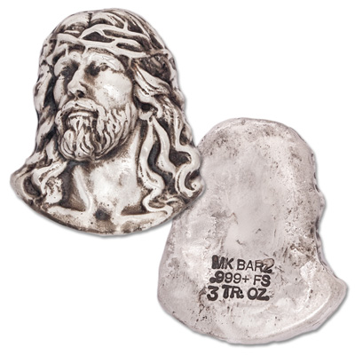 Image for 3 oz. Hand-Poured Silver Bust of Jesus from Littleton Coin Company