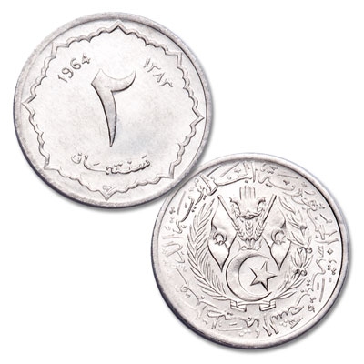 Image for 1964 Algeria Aluminum 2 Centimes from Littleton Coin Company