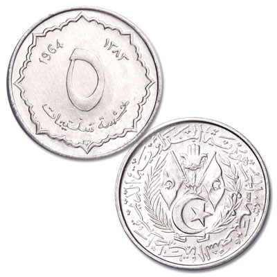 Image for 1964 Algeria Aluminum 5 Centimes from Littleton Coin Company