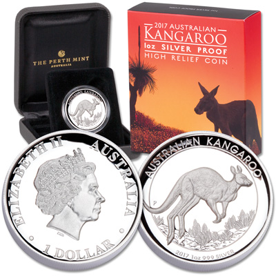 Image for 2017 Australia High-Relief Silver $1 Kangaroo from Littleton Coin Company