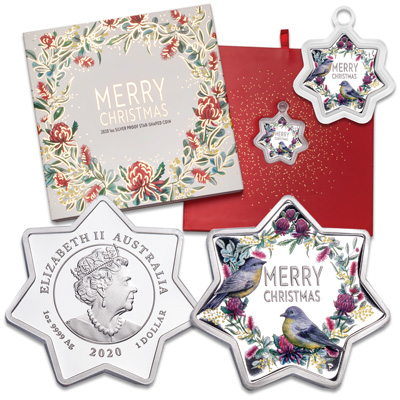 Image for 2020 Australia 1 oz. Silver $1 Star-Shaped Christmas Garland from Littleton Coin Company