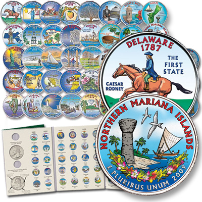 Image for 1999-2009 Complete Colorized Commemorative Quarter Set (56 coins) with Folder from Littleton Coin Company