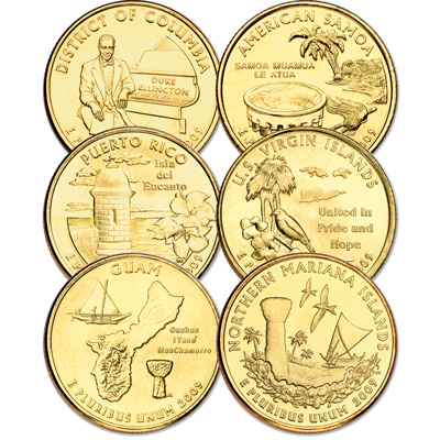 Image for 2009 Gold-Plated D.C. & U.S. Territories Quarter Year Set from Littleton Coin Company
