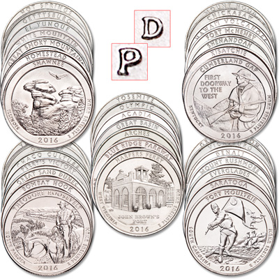 Image for 2010-2016 P&D America's National Park Quarter Set from Littleton Coin Company