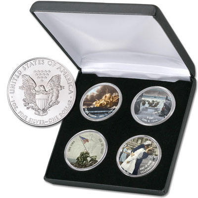 Image for Colorized American Silver Eagle WWII Set from Littleton Coin Company