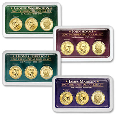Image for All Four 2007 PDS Presidential Dollar Sets in Exclusive Showpaks from Littleton Coin Company