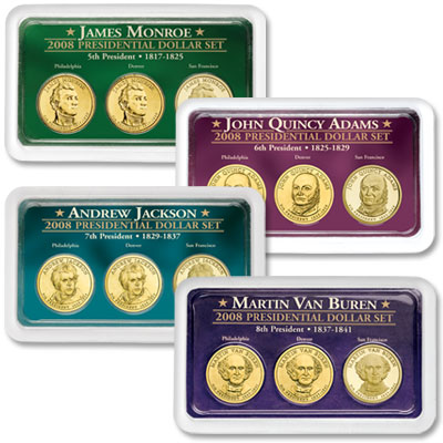 Image for All Four 2008 PDS Presidential Dollar Showpaks from Littleton Coin Company