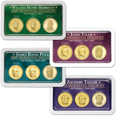 Image for 2009 All Four PDS Presidential Dollar Showpaks from Littleton Coin Company