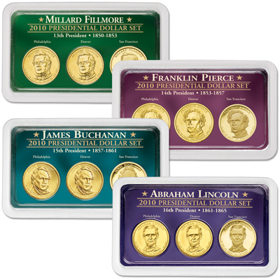 Image for 2010 All Four PDS Presidential Dollar Showpaks from Littleton Coin Company