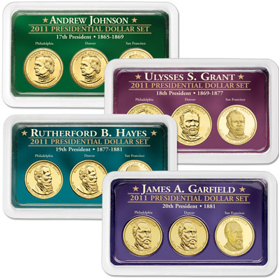 Image for 2011 All Four PDS Presidential Dollar Showpaks from Littleton Coin Company