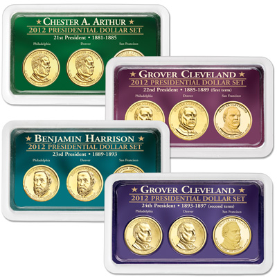 Image for 2012 All Four PDS Presidential Dollar Showpaks from Littleton Coin Company