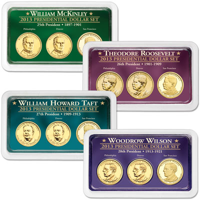 Image for 2013 All Four PDS Presidential Dollar Showpaks from Littleton Coin Company