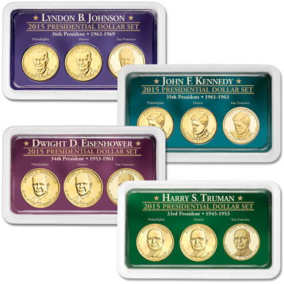 Image for 2015 All Four PDS Presidential Dollar Showpaks from Littleton Coin Company