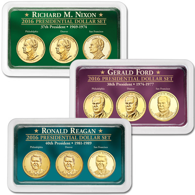 Image for 2016 All Three PDS Presidential Dollar Showpaks from Littleton Coin Company