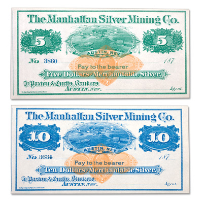 Image for 1870s $5 & $10 Manhattan Silver Mining Co. Scrip Set from Littleton Coin Company