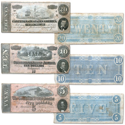 Image for 1864 Confederate States of America 3-Note Set ($5, $10 and $20), Circulated from Littleton Coin Company