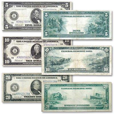 Image for Series 1914 $5, $10 & $20 Federal Reserve Note Set, Very Good from Littleton Coin Company