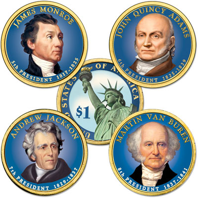 Image for Buy All 4 Colorized 2008 Presidential Dollars from Littleton Coin Company
