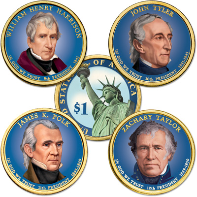 Image for Buy All 4 Colorized 2009 Presidential Dollars from Littleton Coin Company