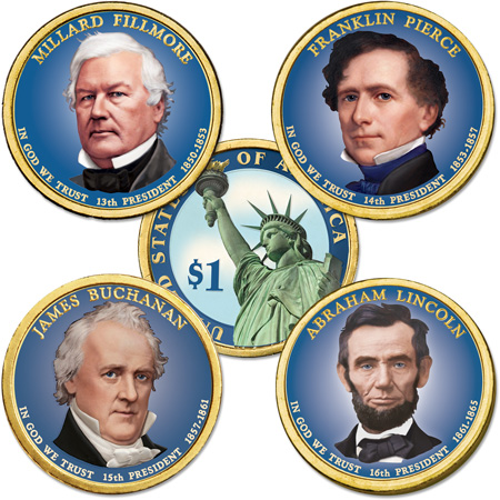 Image for Buy All 4 Colorized 2010 Presidential Dollars from Littleton Coin Company