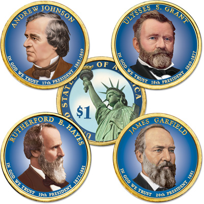 Image for Buy All 4 Colorized 2011 Presidential Dollars from Littleton Coin Company