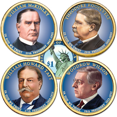 Image for Buy All 4 Colorized 2013 Presidential Dollars from Littleton Coin Company