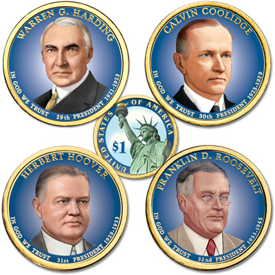 Image for Buy All 4 Colorized 2014 Presidential Dollars from Littleton Coin Company