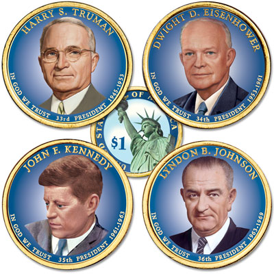 Image for Buy All 4 Colorized 2015 Presidential Dollars from Littleton Coin Company