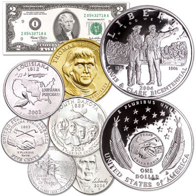 Image for Lewis & Clark Set & Thomas Jefferson Tribute Set from Littleton Coin Company
