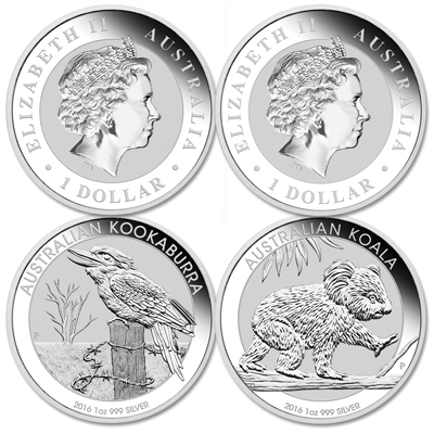 Image for 2016 Australia Silver Kookaburra and Koala Dollars from Littleton Coin Company