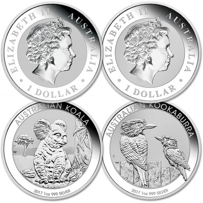 Image for 2017 Australia Silver Kookaburra and Koala Dollars from Littleton Coin Company