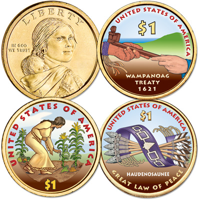 Image for 2009-2011 Colorized Native American Dollar Set (3 coins) from Littleton Coin Company