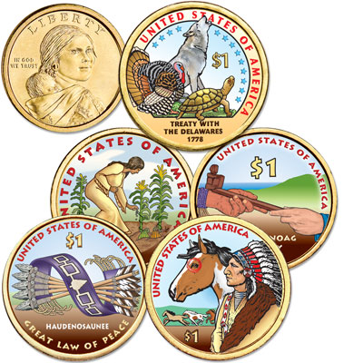 Image for 2009-2013 Colorized Native American Dollar Set (5 coins) from Littleton Coin Company