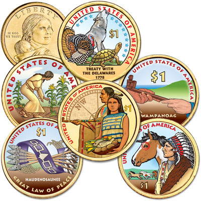 Image for 2009-2014 Colorized Native American Dollar Set (6 coins) from Littleton Coin Company
