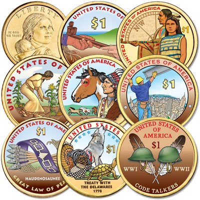 Image for 2009-2016 Colorized Native American Dollar Set from Littleton Coin Company