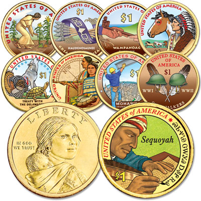 Image for 2009-2017 Colorized Native American Dollar Set from Littleton Coin Company