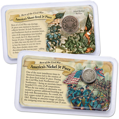 Image for 1864-1872 Bronze 2 Cent Piece & Nickel 3 Cent Piece in Showpaks from Littleton Coin Company