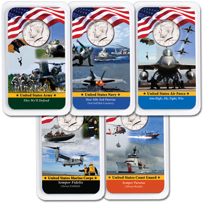 Image for All Five 2016 Kennedy Half Dollars in Armed Forces Showpaks from Littleton Coin Company