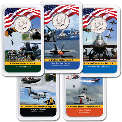 Image for All Five 2017 Kennedy Half Dollars in Armed Forces Showpaks from Littleton Coin Company