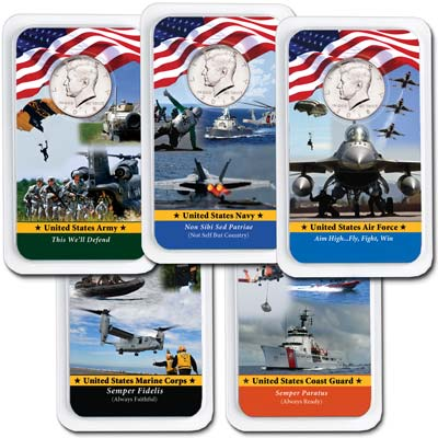 Image for All Five 2018 Kennedy Half Dollars in Armed Forces Showpaks from Littleton Coin Company