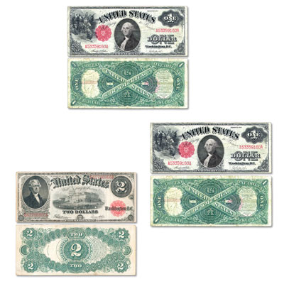 Image for 1907-1917 $1, $2, $5 Legal Tender Note Set from Littleton Coin Company