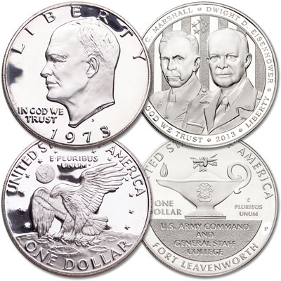 Image for 1973-S Eisenhower Dollar & 2013 5-Star General Commemorative Dollar Set from Littleton Coin Company