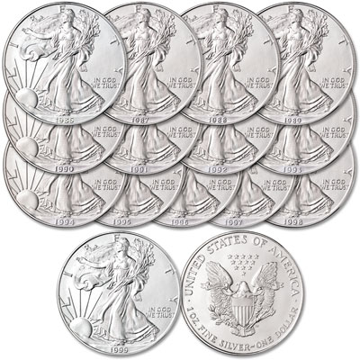 Image for 1986-1999 American Silver Eagle Set (14 coins) from Littleton Coin Company