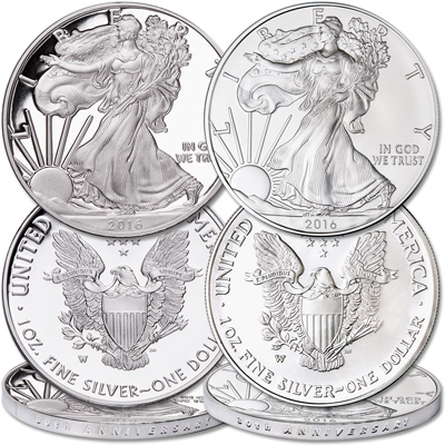 Image for 2016-W Burnished & Proof Silver American Eagles from Littleton Coin Company