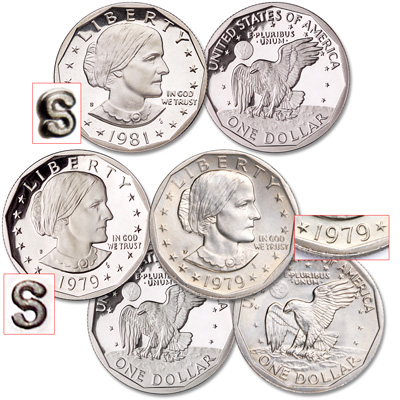Image for 1979-1981 3 Varieties Susan B. Anthony Dollar Set from Littleton Coin Company