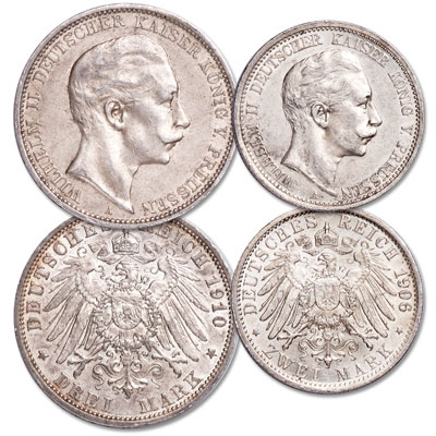 Image for 1891-1912 Wilhelm II Prussia Silver 2 & 3 Marks from Littleton Coin Company