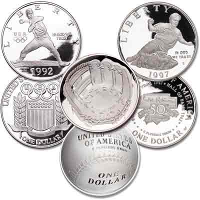 Image for 1992-2014 Buy Three Baseball Silver Dollars from Littleton Coin Company