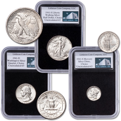 Image for 1941 Pearl Harbor Anniversary Silver Coin Set from Littleton Coin Company