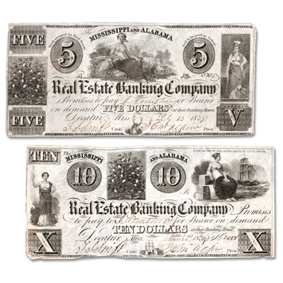 Image for 1839 $5 & $10 Mississippi & Alabama Real Estate Banking Co. Notes from Littleton Coin Company