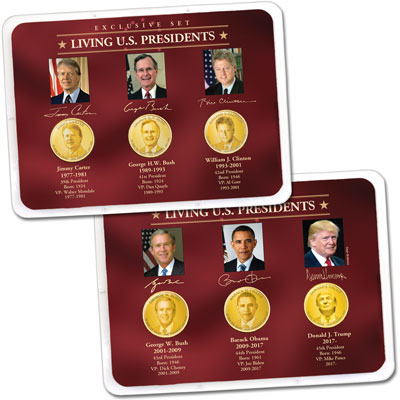 "Image for ""Golden"" Colorized Living Presidents Sets in Showpaks from Littleton Coin Company"